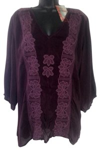 Johnny Was Cupra Rayon Lace Trim Tunic