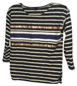 J.Crew Top Black, navy, gold