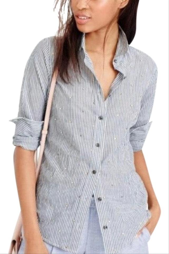 87dcae33d J.Crew Blue White XS Embellished Perfect Shirt Striped Button-down Top