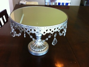 Silver Round Cake Stand 7.5 Inches Tall Ceremony Decoration
