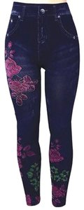 Leggings Flower Rhinestone Jeggings-Light Wash