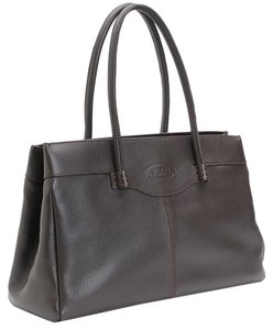 Tod's Leather Leather Work Horse Work Classic Classy Louis Vuitton Prada Italy Tote in Black
