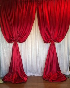 4 Red Satin Curtains 5 Feet Wide By 16 Ft Long
