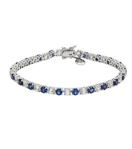 Victoria Townsend SET-DiamonLuxe LAB Created DARK Sapphire/Diamond Bracelet-Necklace