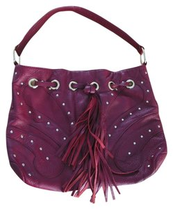 Aerosoles Wine Fringe Leather Drawstring Gold Rings Hobo Bag