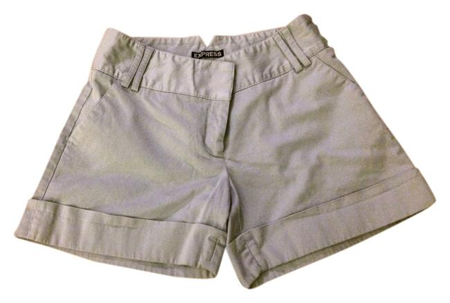 Express Distressed Seamed Casual Comfortable Summer Cuffed Shorts Light Blue/Gray