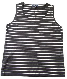 Jones New York Straight Hemline Contrast Trim Hand Wash Sleeveless Top Black/White