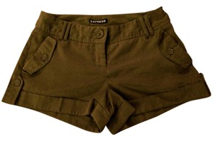 Express Cuffed Distressed Seamed Cuffed Shorts Olive Green