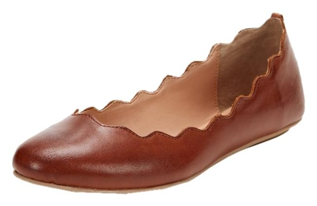 Item - Brown Fidel Leather Scalloped Ballet By In Cognac (Brown) Flats Size US 7.5