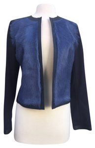 Elie Tahari Blue Leather Jacket