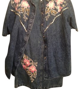 Blue Jean Blouse and Skirt Suit Set - With Embroidered Pattern