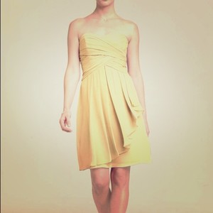David's Bridal Canary Yellow Chiffon Style F14847 Modern Bridesmaid/Mob Dress Size 12 (L)