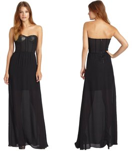 Alice + Olivia Leather Bustier Sheer Mesh Gown Dress