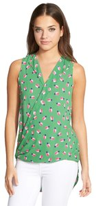 Nordstrom Top Green Pineapple Print