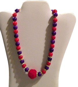Other Red and Purple beaded necklace w/ Red Velvet Rose