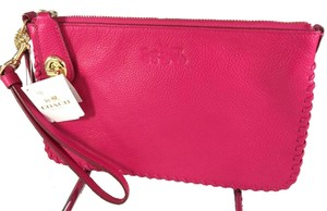 Coach Turnlock Pink Whiplash 53289 Whipstitch Chain Wristlet in Pink Ruby