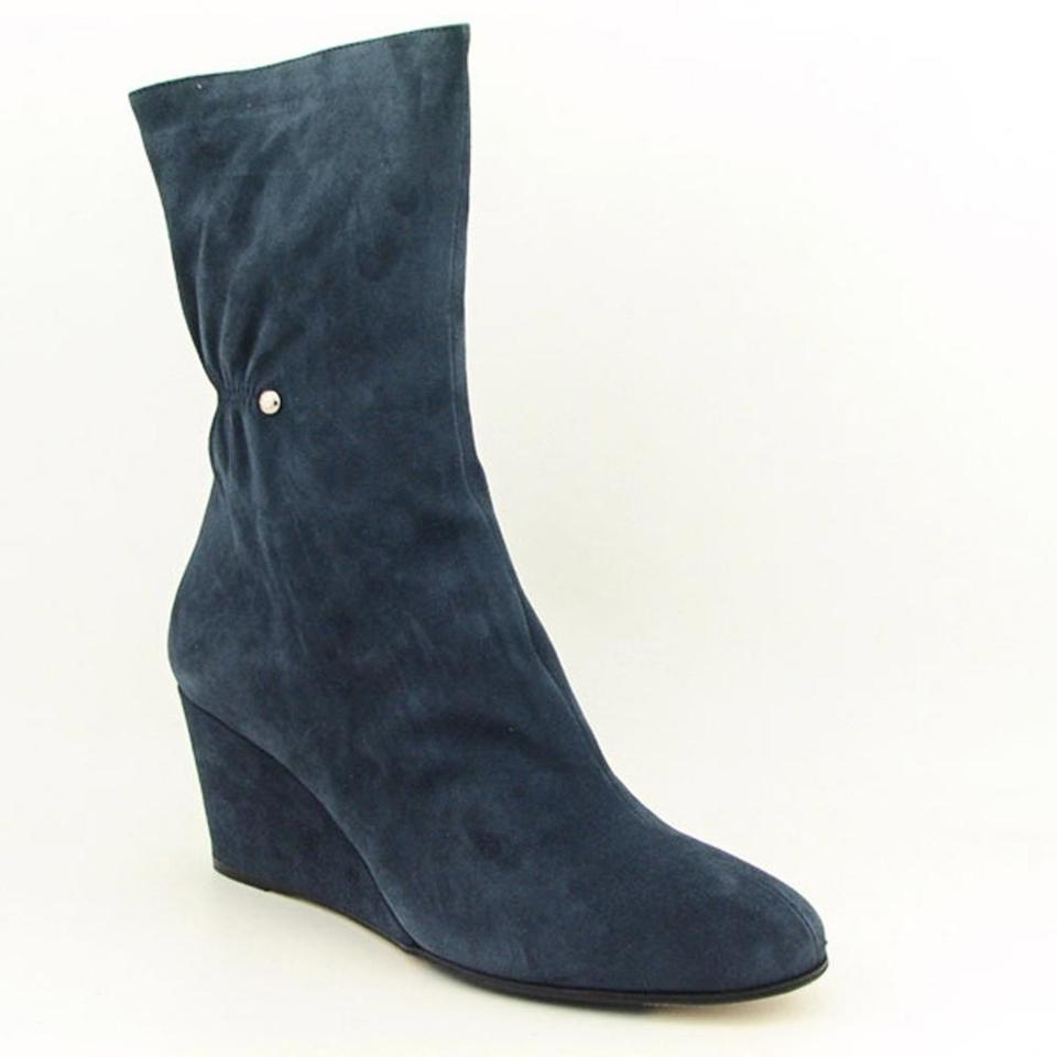 30bb01f2d37d Taryn Rose Stella Blue Doolan Camoscio Wedge Boots Booties Size US ...