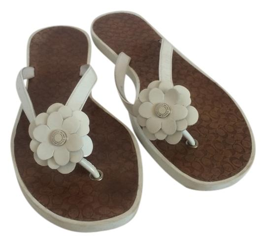 Coach Leather White Flats