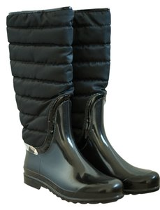 Burberry Rain Rubber Nylon Apres-ski Check Warm Black Boots