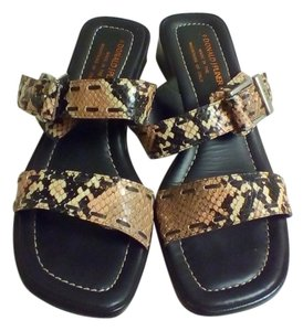 Donald J. Pliner Mock Croc Buckles Strappy PINK, BLACK, IVORY Sandals