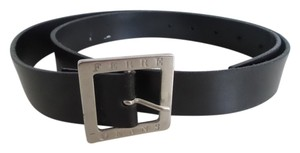 Gianfranco Ferre Gianfranco Ferre Black Top Leather with Silver Hardware Unisex Belt.