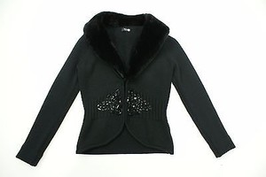 Basler Basler Black Sweater Jacket Detachable Faux Fur Collar