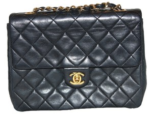 Chanel Vintage Leather Front Flap Shoulder Bag