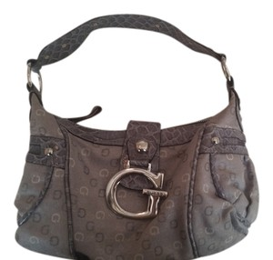 Guess G Shine Canvas Logo Studded Gray Hobo Bag