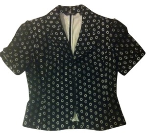 Samuel Dong Eyelet Short-sleeved Jacket Black Blazer