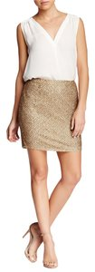 Joie Bricia Bronze 100% Silk Embellished Sequin Beaded Holiday Dressy Cocktail Mini Skirt Gold