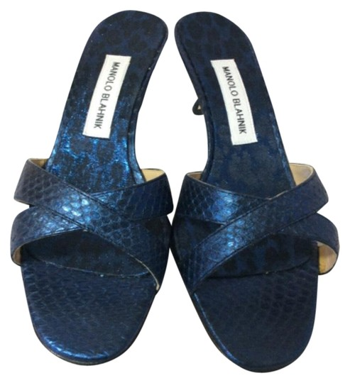 Manolo Blahnik Blue/Black Sandals Image 0