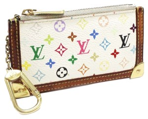 Louis Vuitton Louis Vuitton Pochette Cles Monogram Multicolore Coin Case White