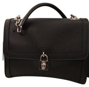 Dolce&Gabbana Locket Lock Borsa Vitello Classic Satchel in Black