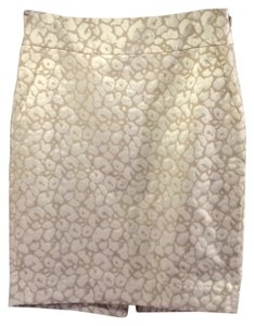 The Limited Animal Print Pencil Cream Mini Skirt Ivory