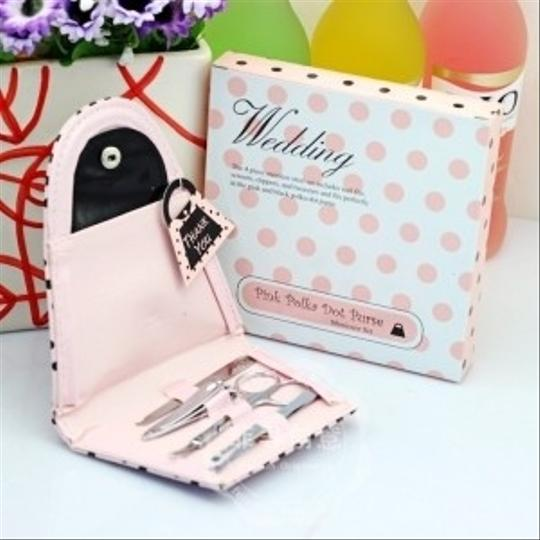 100 Pink Polka Purse With Manicure Set