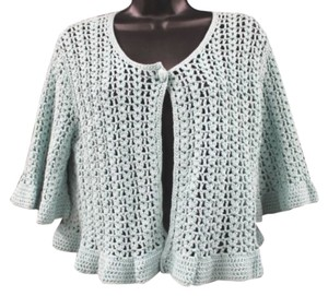 Anne Klein Crochet Knit Top LIGHT GREEN