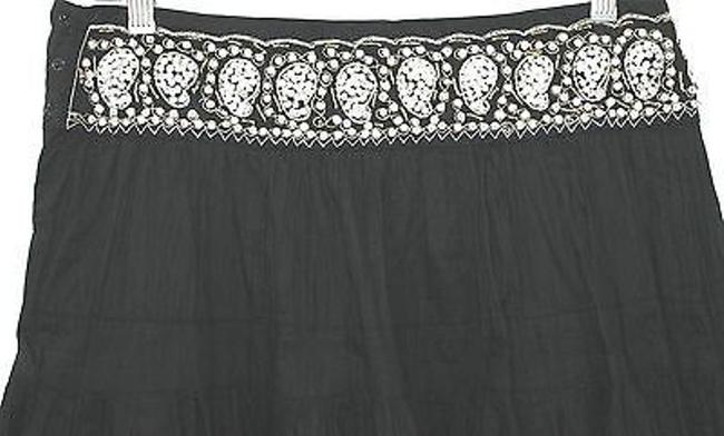 BCBGMAXAZRIA Crinkle Cotton Skirt BLACK