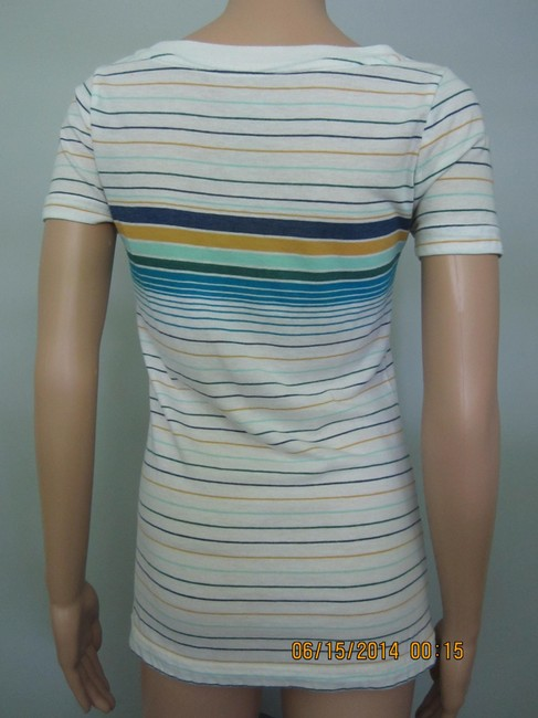 Old Navy Boyfriend Casual Cute V-neck T Shirt Blue, Yellow, Green Stripes