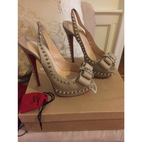 Christian Louboutin Spikes Red Bottoms Nude Platforms