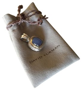David Yurman TWO TONE DIAMOND CHALCEDONY BLUE PENDANT