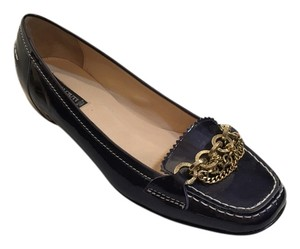 Claudia Ciuti Gold Chain Loafers Driving Navy Blue Patent Leather Flats