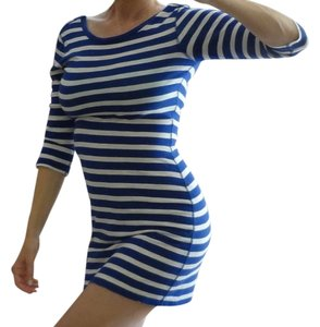 Express short dress Blue and White Striped on Tradesy