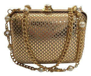 St. John St Damier Checkered Chain Crystal Pearl Minaudiere Evening Gold Metallic Clutch