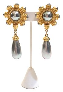 Carolina Herrera Carolina Herrera Gold Tone and Tahitian Faux Pearl Gripoix Teardrop Byzantine Earrings.