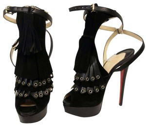 Christian Louboutin Spiked Strass Pony Leather Black Pumps