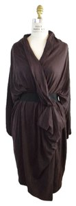 Lanvin Wool Twisted Knot Draped Long Sleeve Knit Dress