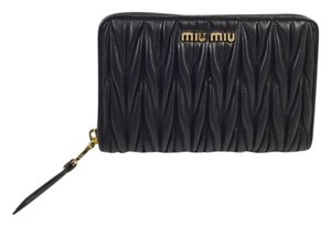 Miu Miu Black Matelasse Leather