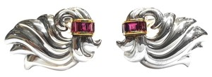 Tiffany & Co. Tiffany & Co Vintage Sterling Silver & 14 Karat Yellow Gold Clip Earrings With Rubies