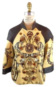 Gucci Seashell Leather Print Runway yellow Jacket