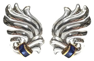 Tiffany & Co. Tiffany & Co Vintage Sterling Silver & 14 Karat Yellow Gold Clip Earrings With Blue Sapphires